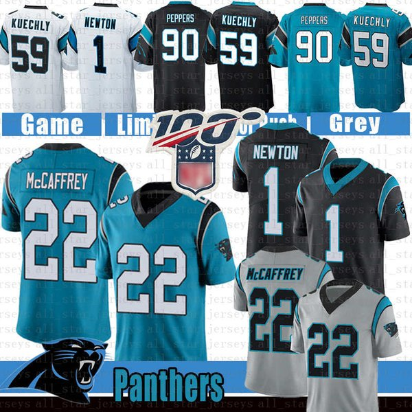 1 cam newton carolina 22 christian mccaffrey panther football jersey 59 luke kuechly 90 julius peppers jerseys blue black, Black;red