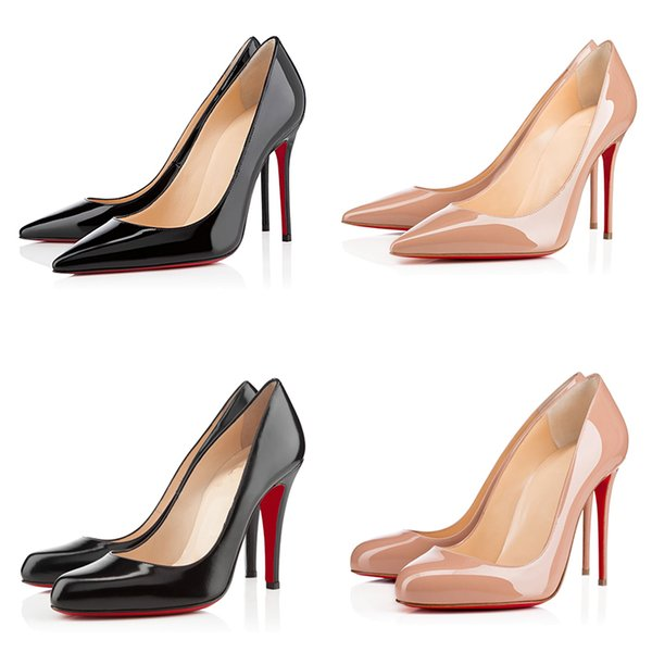 Luxury Designer Women Shoes Red Bottoms Pumps High Heels Black Nude Pointed Toe Red Bottom Dress Wedding Shoes 8/10/12CM 35-42