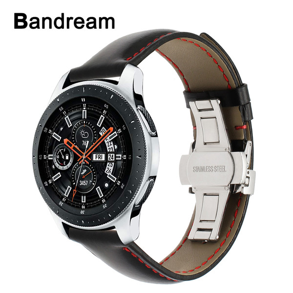 Banda de reloj de cuero genuino de Italia 20mm 22mm para Samsung Galaxy Watch 46mm 42mm R800 / R810 Corchete de mariposa Correa de liberación rápida
