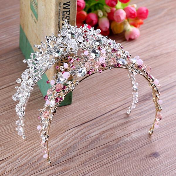 crystal tiara KMVEXO Handmade Pink White Beads Bridal Crown Flower Bride Hair Jewelry Crystal Tiara Princess Crowns Wedding Hair Accessories
