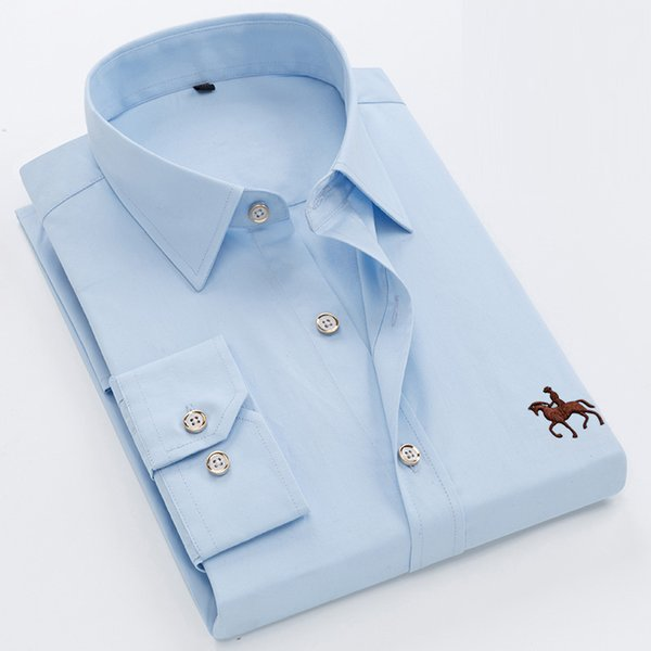 New Arrival Solid Color Popular Design Long Sleeve Men Dress Shirts 100% Pure Cotton High Quality Embroidery Formal Male Shirts