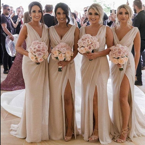 Bridesmaids Dresses Cheap Sheath Plunging V Neck Side Split Chiffon Beach Maid of Honor Prom Party Gowns Plus Size Custom DB034