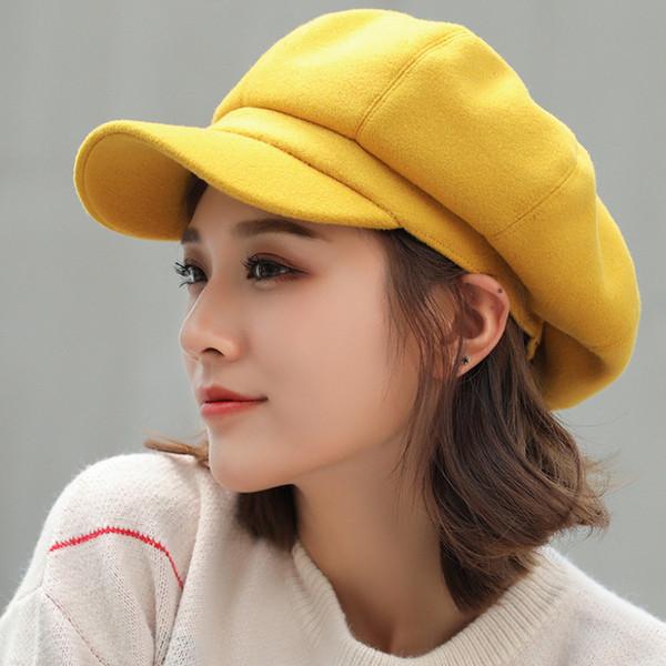 HT1990 Auutmn Winter Hats for Women Solid Plain Octagonal Newsboy Cap Men Ladies Casual Wool Hat Winter Beret Women Painter Cap