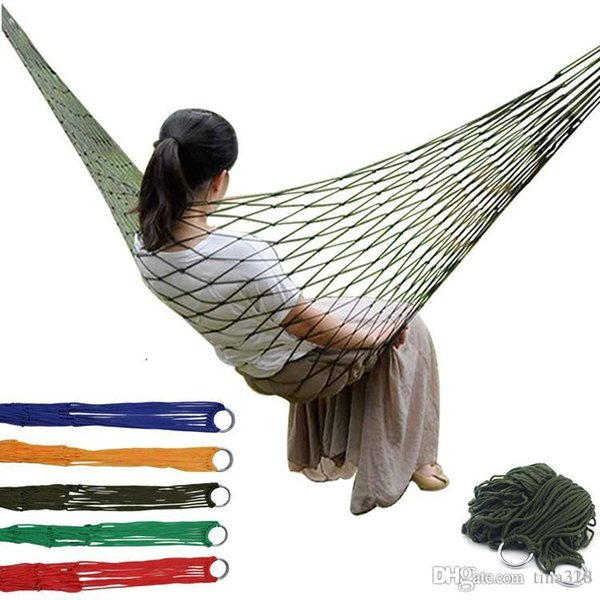 Portable Mesh Hammock Nylon Hanging Sleeping Bed Swing Outdoor Travel Camping Bed Hangnet Hammock 5 color IB638