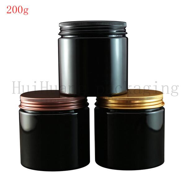 30шт 200г алюминиевая крышка пустой Cosmetic Контейнер черный крем Jar 200cc еды горшок, чай олово, косметика Упаковка Контейнеры