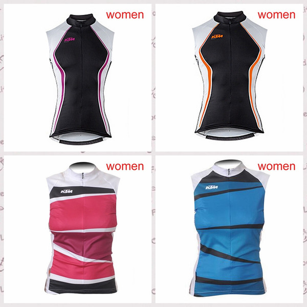 KTM team custom made Cycling Sleeveless jersey Vest Summer ladies windproof and comfortable outdoor sports Jersey S6434