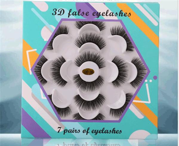 best selling 7 Pairs Faux 3D Mink Eyelashes Natural Long False Eyelashes Eye Makeup Eyelash Extension Fake Mink Lashes