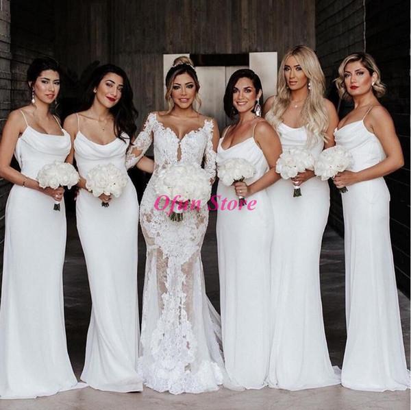 Toptan-Ucuz Şifon Spagetti Askı Mermaid Hizmetçi Onur Elbise Backless Kat Uzunluk Dantelli Beyaz Nedime Elbisesi elbiseler robe de demoise