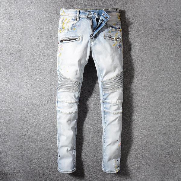 Balmain Kot Moda Erkek Basit Yaz Hafif Kot Erkek Moda Rahat Katı Klasik Düz Denim Jean Ssplash Mürekkep Tasarımcı Pantolon