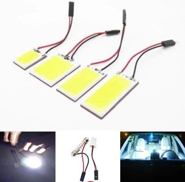 100pcs 21 24 36 48 smd cob chip 12v 24v dome light with t10 festoon adapters white car vehicle led panel lamps