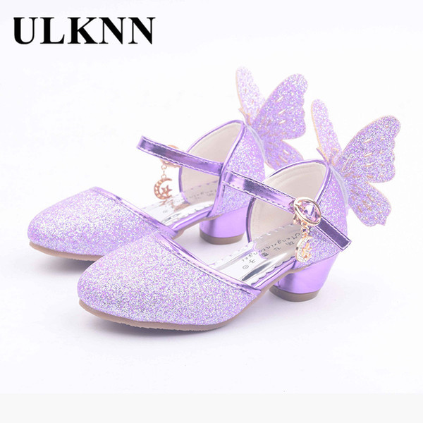 Ulknn Summer Children Sandals Kids Pu Leather Buckle Strap Princess Shoes For Girls Party Glitter Butterfly High Heel Sandals Y19051303