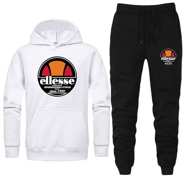 ELLES Mens Tasarımcı Spor Eşofman 2 Parça Pantolon Mektup Baskılı Uzun Kollu Kapşonlu Eşofman Erkek Giyim Eşofman Tasarımcı