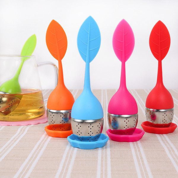 8 Colors New Silicone Stainless Steel Cute Leaf Tea Strainer Herbal Spice Tea Infuser Filter leakage