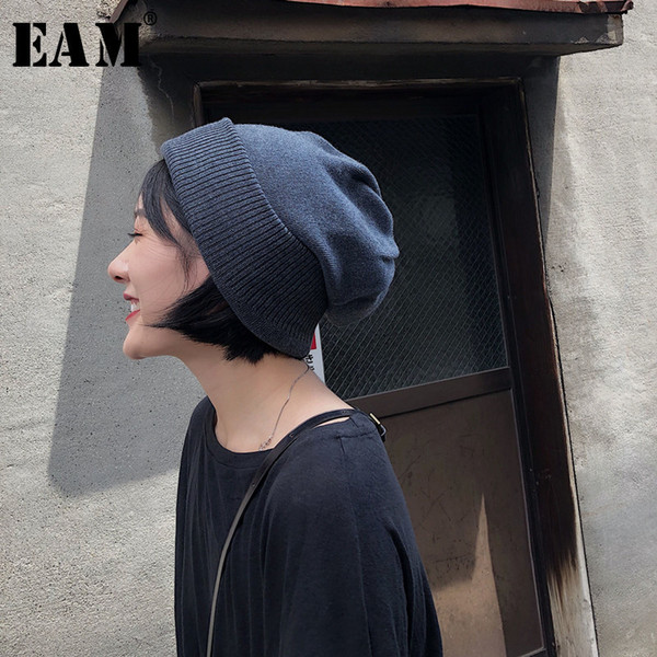 [EAM] 2019 New Primavera-Verão Keep Warm Vintage Suave coreano Grosso Elasticidade Unisex Adulto Gorro Mulheres Moda OB457 T191022