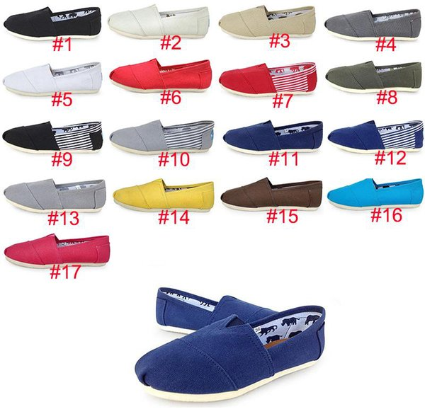 HOT Marque Mode Casual Chaussures Casual Femmes / Hommes Classiques TOM MRS Mocassins Toile Slip-On Solid Flats chaussures Baskets en toile Classic Lazy Classic taille