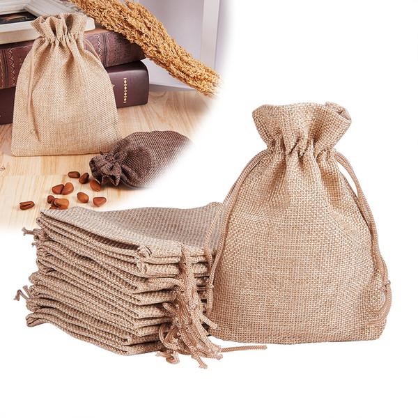 9.5x13.5cm Льняные пакеты для упаковки ювелирных изделий Небольшие подарочные сувениры Bundle Pack Сумка для хранения Drawstring Gunny Sack Конфеты из бисера Серьги Мешочек
