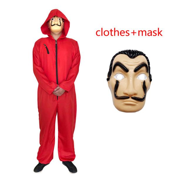 La casa de papel Stagione Abiti cosplay 2019 New Kids adulto Halloween costume cosplay Salvador Dali vestiti + maschera 2 pezzi set B