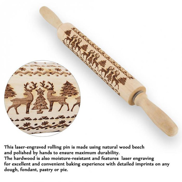 top popular 8 Designs Embossing Christmas Rolling Pin ECO Wooden Christmas Engraved Carved Embossing Rolling Pin Dough Stick Baking Kitchen Pastry Tool 2020