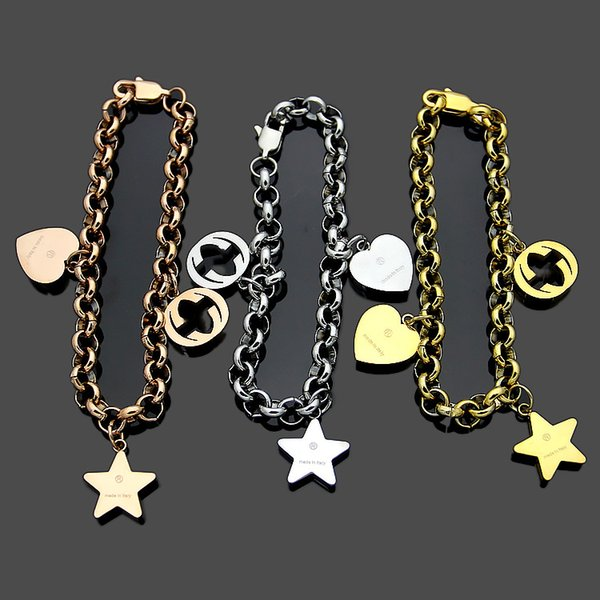 Factory price wholesale explosions G letter hanging five-pointed star heart-shaped bracelet Women's foreign trade peach heart bracelet