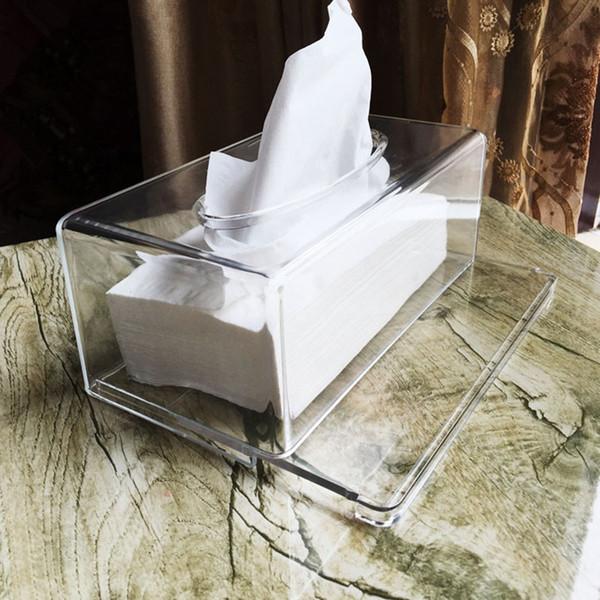 Decorative Toilet Paper Holder Acrylic Tissue Box Holder Tissue Transparent Toilet Seat Home Hotel Car Box Case