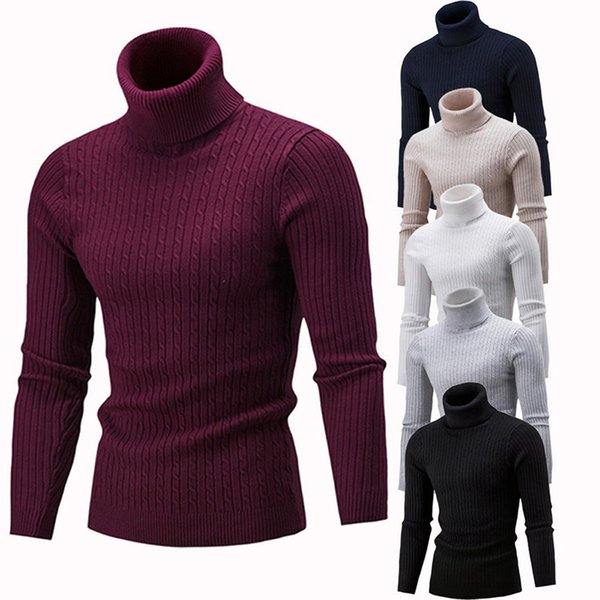2018 Hot Autumn Spring Mens Sweater Fashion Turtleneck Solid Color Casual Sweater Men's Slim Fit Brand Knitted Pullovers