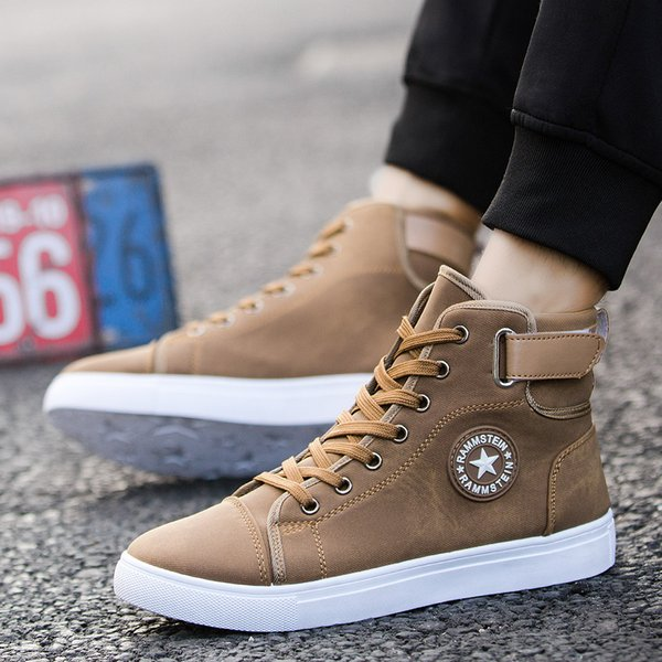 GOXPACER British Style Shoes Men High-top Casual Shoes Lacing Advanced Low Heel Personality Fashion Star Walking Plus Size