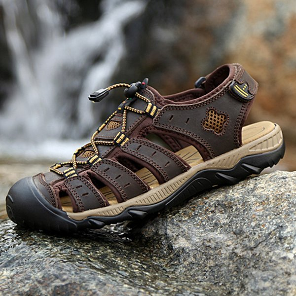 2019 new male shoes genuine leather men sandals summer fashion outdoor casual sneakers