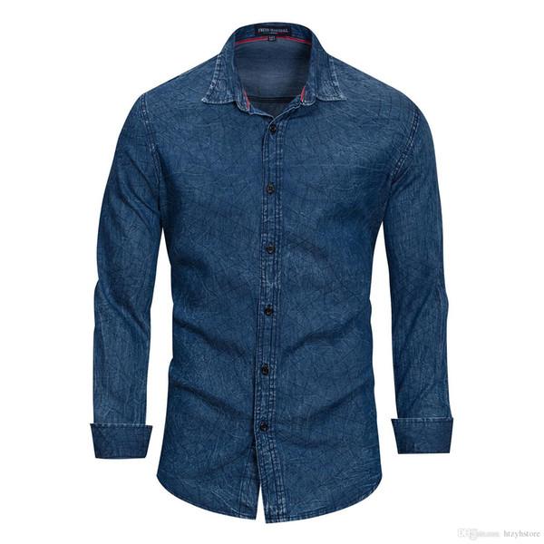 2018 Yeni Moda Erkekler Gömlek Cep Mücadele Deri Elbise Gömlek Uzun Kollu Slim Fit Camisa Masculina Rahat Erkek Gömlek Modeli Denim Bluz