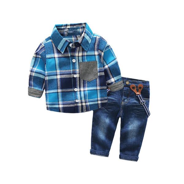 Long-sleeve Boys Clothing Set Blue Plaid Shirt + Suspenders Jeans Casual Kids Clothes for Boy Suit Set Infant Children Clothing