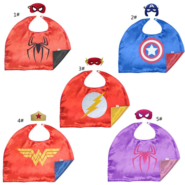 55*70cm 2-layer Superhero Cape with Mask for Kid of 1-5 Years Cartoon Movie Halloween Costumes Child Cosplay Free DHL for over 30 sets