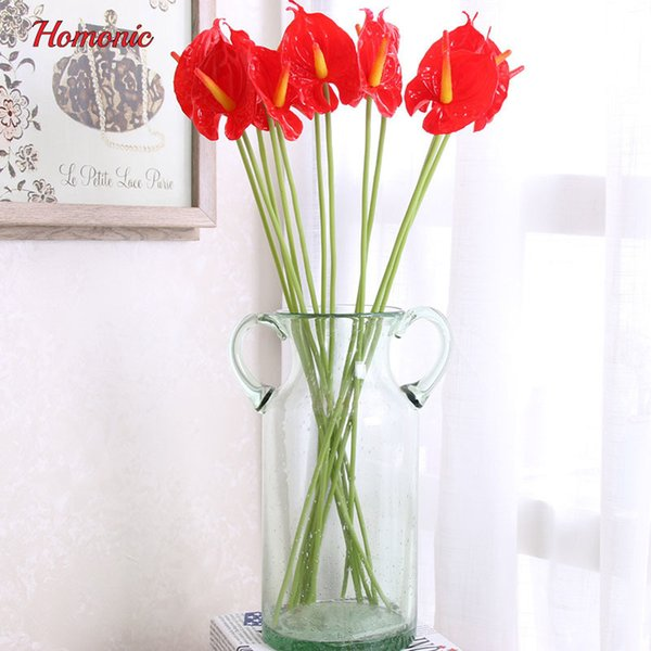 12 Pcs/lot Artificial Flower Fake Real Touch Anthurium Bouquet High Quality Flowers Calla Wedding Arrangement Home Decoration J190711