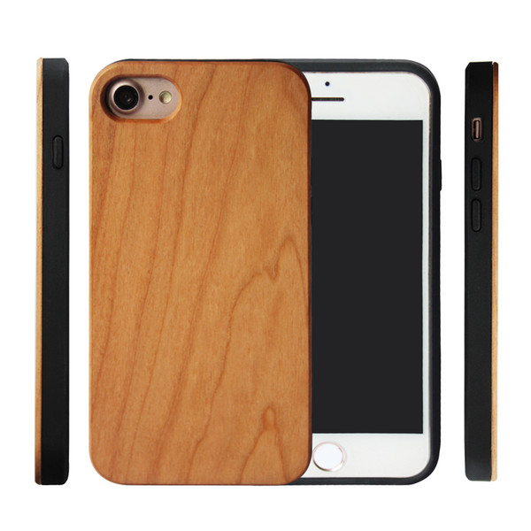Concise Style Blank Wood Custom Engraving Phone Case For iphone X 7 8 6 plus Real Bamboo Cherry Mobile Phone Cover For Samsung Galaxy S10 S9
