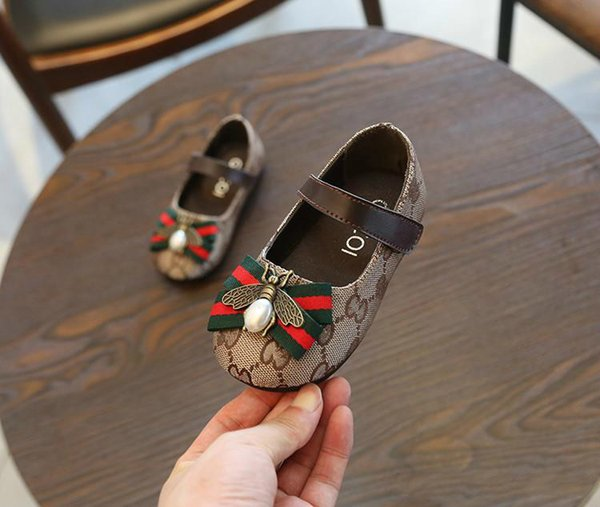 Best 2019 Fashion Autumn Fancy Girl Children Toddler Kid Shoes Princess Girls Shoes Bow Bee Flat Dress Party Size 21-30