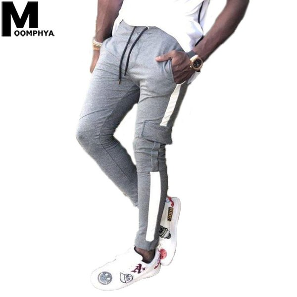 Moomphya 2019 New Side Stripes Pantalons Joggers Pour Hommes Streetwear Hip Hop Long Hommes Pantalons Élégant Pocket Men Cargo Pants