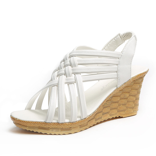 Wedge female sandals thick bottom open toe fish mouth high heel straw thin belt combination casual shoes