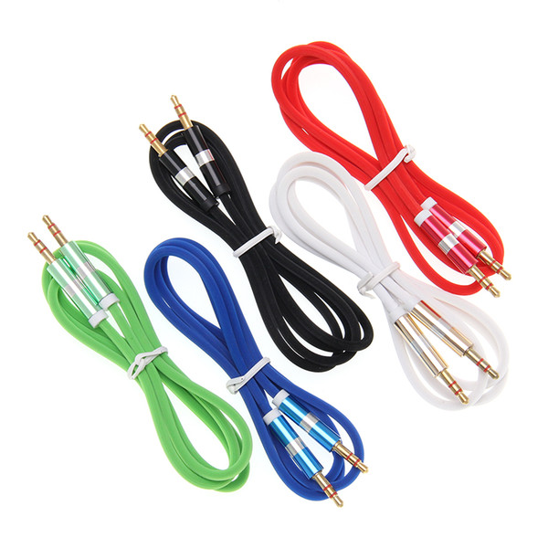 3.5 Jack Audio Cable Male/Male pure color LF Stripe shell Aux Cable For iPhone Car Headphone Speaker Wire Line Aux Cord 100pcs
