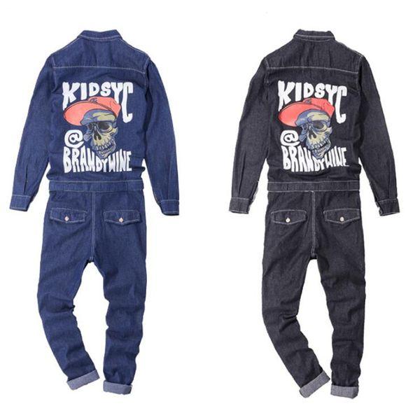 Jeans Jumpsuits Men Spring Autumn Long Sleeve One Piece Overalls Mens Denim Jumpsuit Rompers Casual Hip Hop Skull Print Clothes