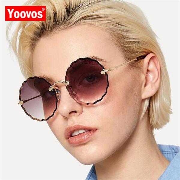 Yoovos 2019 New Rimless Ocean Lens Sunglasses Women Brand Designer UV400 Classic Glasses Gafas Metal Goggle Eyewear For Women