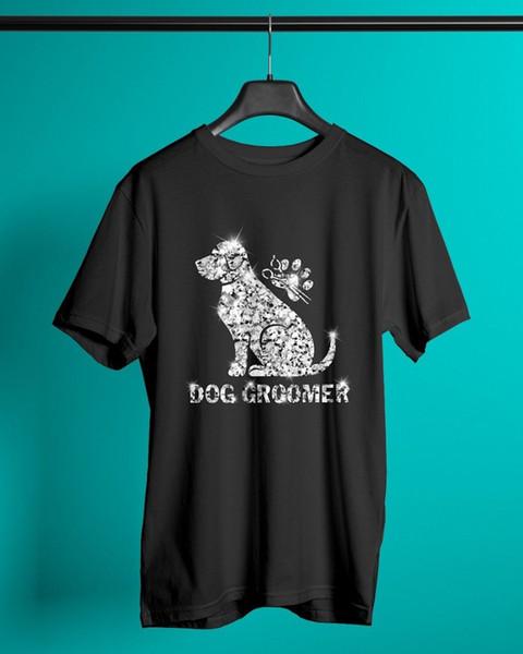 Dog Groomer Diamond Glitter Classic T-Shirt Black Men Cotton Made in USA denim clothes camiseta t shirt