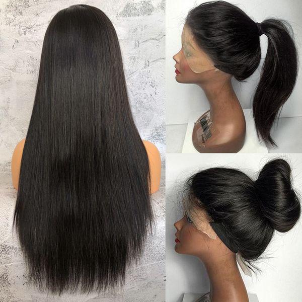 글루리스 실크 톱 전체 레이스 가발 실크 직선 브라질 처녀 머리 전체 레이스 프런트 인간의 머리 가발 자료 레이스가 발