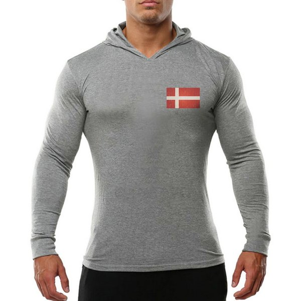 2019 new fashion popular gym Men's Fitness Cotton Long-sleeved Sanitary Wardrobe Printed and Ironed Danish Flag gym Long sleeves