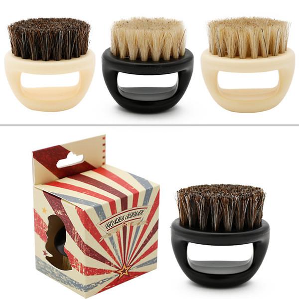 Top Men's Beard Brush Mustache Barber Salon Men Facial Beard Cleaning Appliance Shave Tool Razor boar bristle beard Brush with Handle