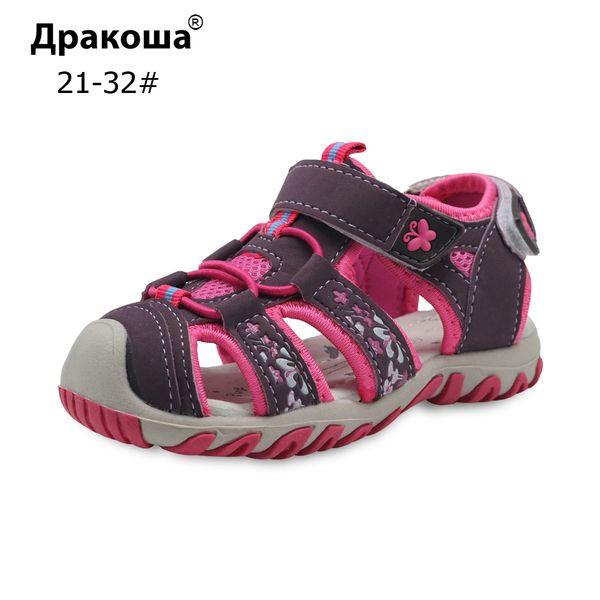 Apakowa Children Shoes Girls Sandals Summer Closed Toe Sandals For Girls Kids Little Kids Beach Sandals Hook & Loop Size 21-32 Y19051303