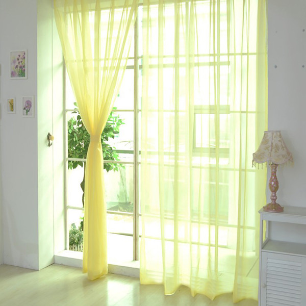 best selling 1PCS Pure Color Tulle Window Screening Solid Door Curtains Drape Panel Sheer Tulle For Living Room Panel Sheer Scarf Valances H4