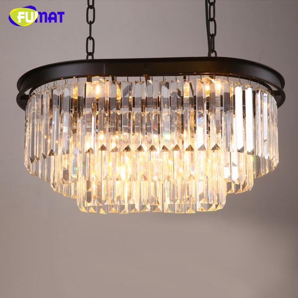 FUMAT American Metal Loft Pendant Lights K9 Crystal Clear Lamp For Living Room Restaurant Lustre LED Crystal Pendant Light