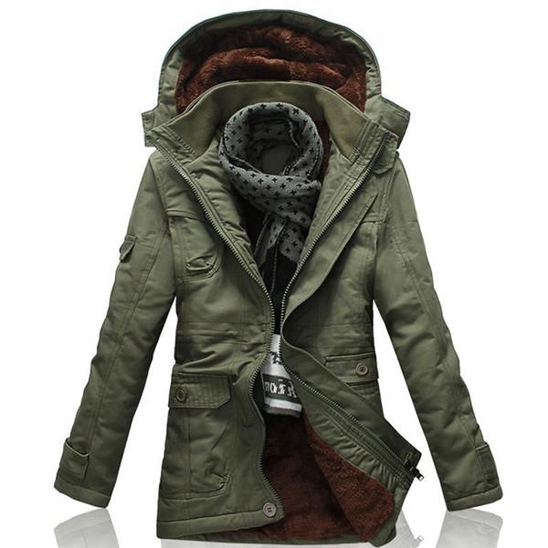 2020 Escudo de moda para los hombres con capucha cazadora de piel cálido forro de invierno para hombre abrigo de gran tamaño 5XL chaquetas de invierno Nueva Caqui Trench