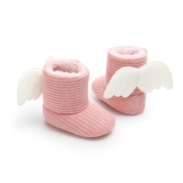 Meninas botas Princesa asas crianças mais grossas Crochet algodão sapatos Crianças botas de inverno Crianças do sexo feminino bebê Neve