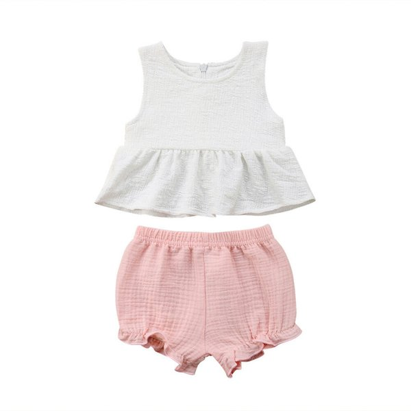 Kleinkind Baby Kinder Mädchen Sommer ärmellose Baumwolle Kleidung Set Pure White T-Shirt Tops Kleid + Pink Short Pants Casual Outfits