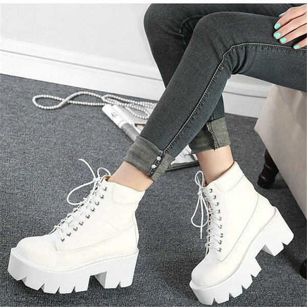 2019 Frauen Weiß Martin Stiefeletten High Heels Schuhe Qualität Wasserdichte Plateaustiefel Sapatos Mulher