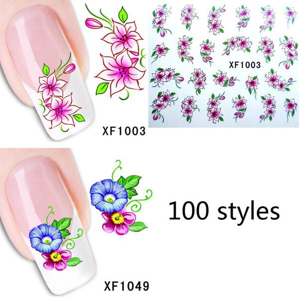 Compre 100 Estilos Moda Nails Art Tatuajes De Manicura Florales Diseño Transferencia De Agua Pegatinas Para Uñas Consejos Belleza Xf1001 1100 A 026